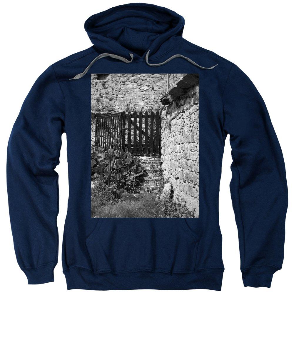 Irish Sweatshirt featuring the photograph Gate At Dunguaire Castle Kinvara Ireland by Teresa Mucha