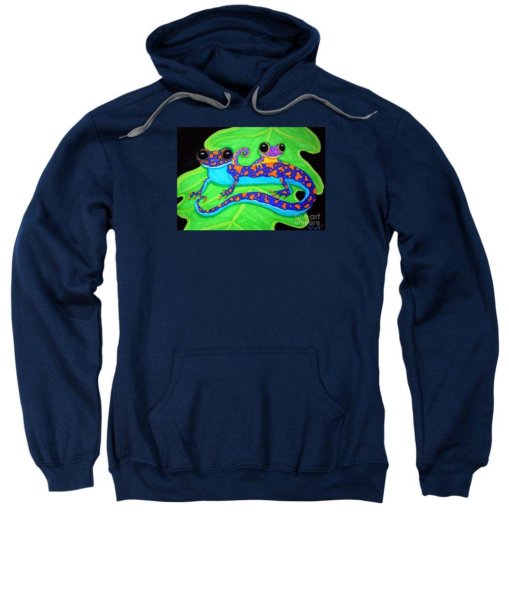 Geckos Sweatshirt featuring the drawing Geckos by Nick Gustafson
