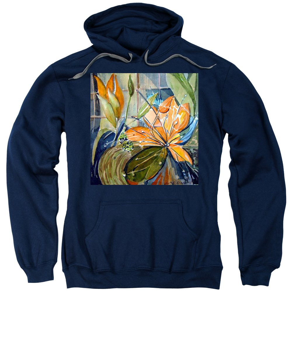 Lilies Sweatshirt featuring the painting Geo Day Lilies by Mindy Newman