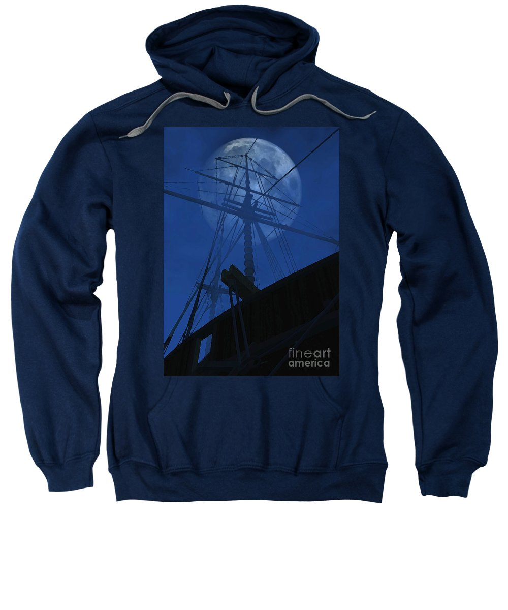Ghost Ship Sweatshirt featuring the digital art Ghost Ship by Richard Rizzo