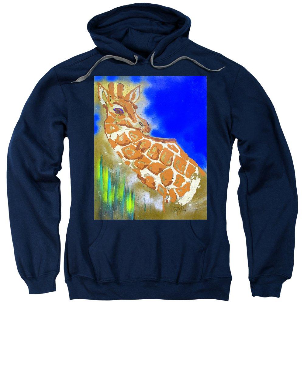 Giraffe Sweatshirt featuring the painting Giraffe by J R Seymour