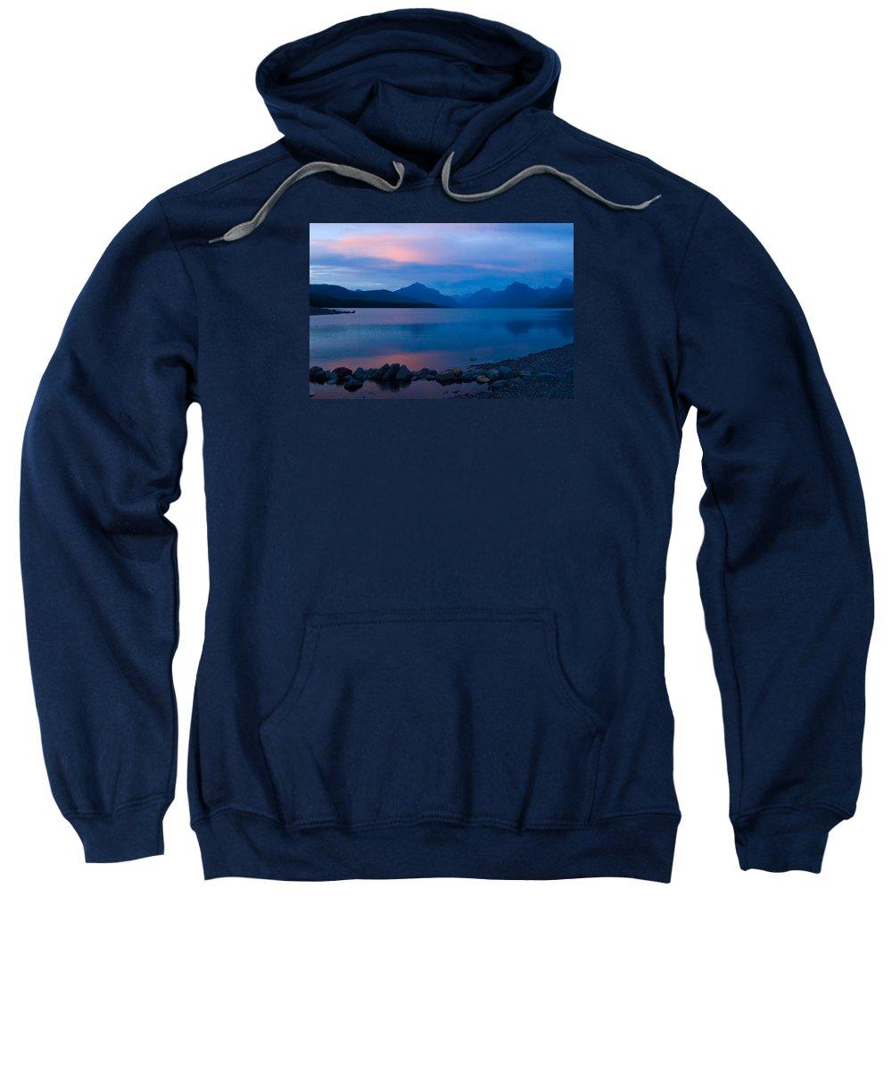 Glacier National Park Sweatshirt featuring the photograph Glacier - Lake Mcdonald Dawn by Don Keisling