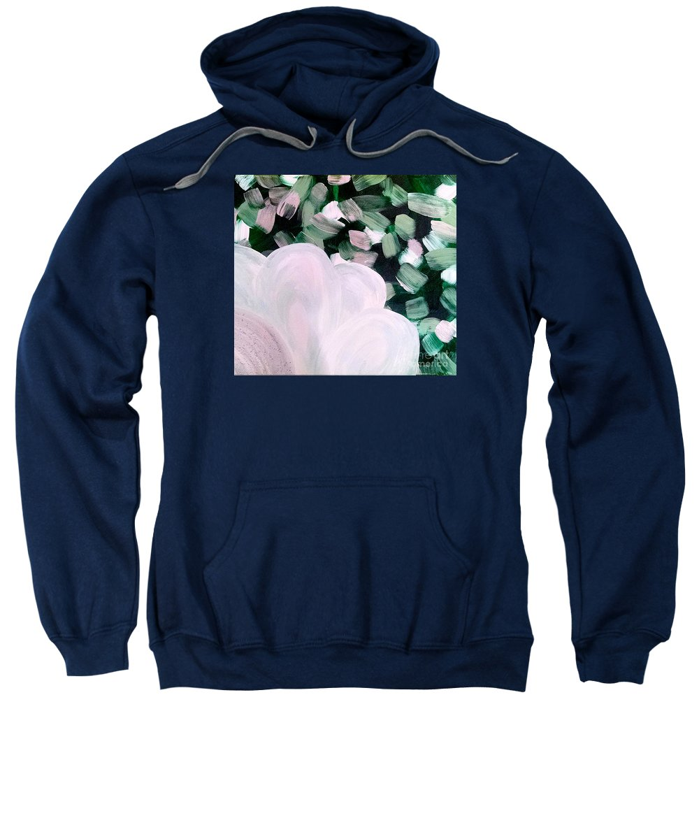 White Flower On Green Sweatshirt featuring the painting Glimmering Petals by Jilian Cramb - AMothersFineArt