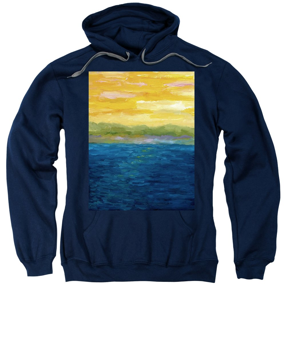 Lake Sweatshirt featuring the painting Gold And Pink Sunset by Michelle Calkins