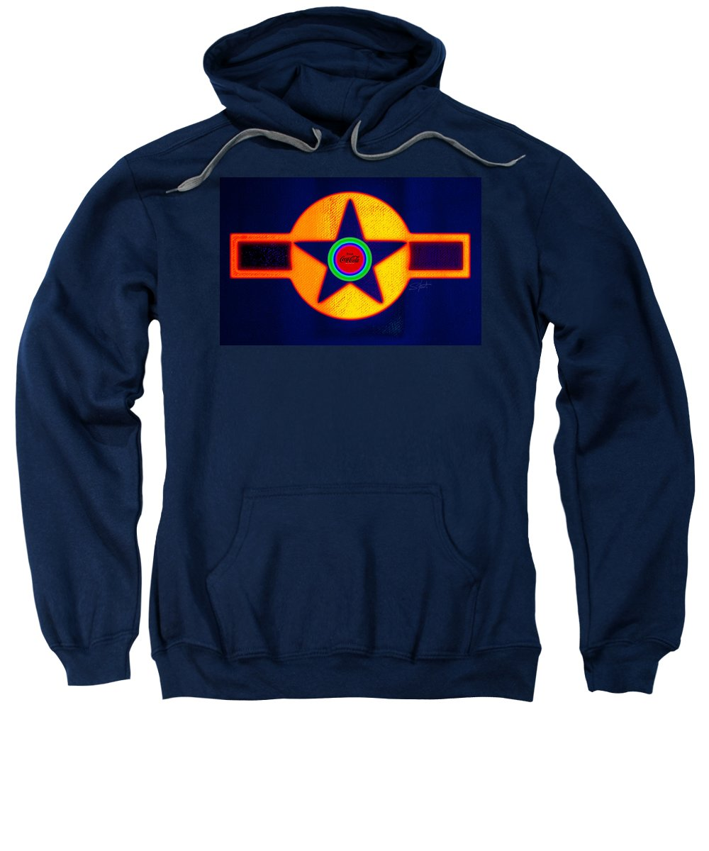 Usaaf Sweatshirt featuring the painting Gold On Blue With Cola by Charles Stuart