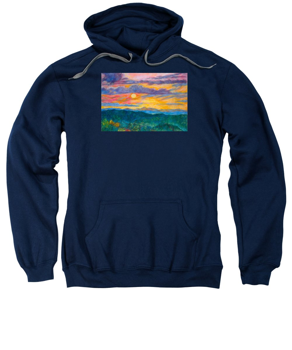 Landscape Sweatshirt featuring the painting Golden Blue Ridge Sunset by Kendall Kessler