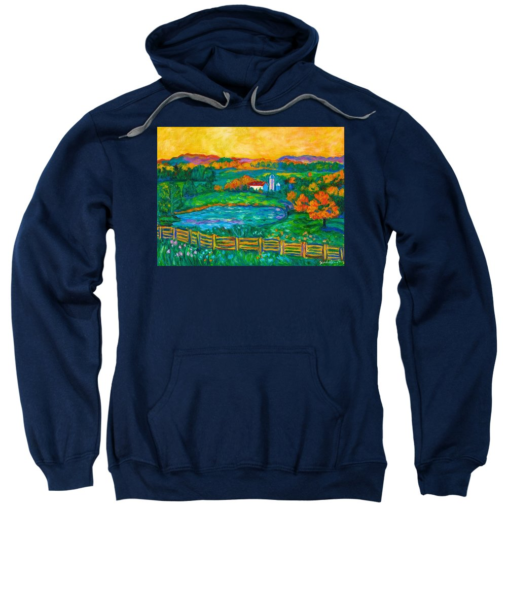 Landscape Sweatshirt featuring the painting Golden Farm Scene Sketch by Kendall Kessler