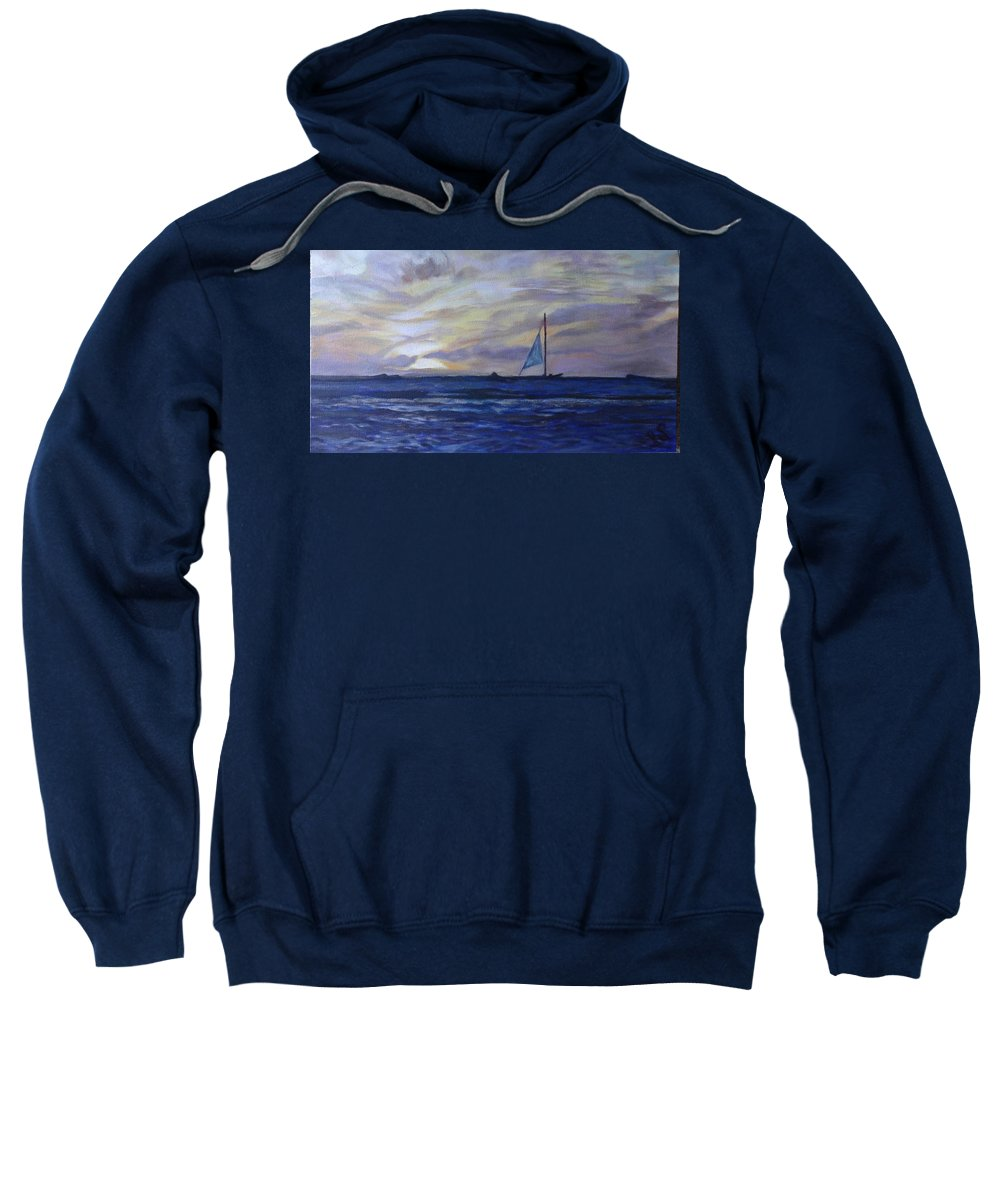 Seascape Sweatshirt featuring the painting Golden Glow by Irina Stroup