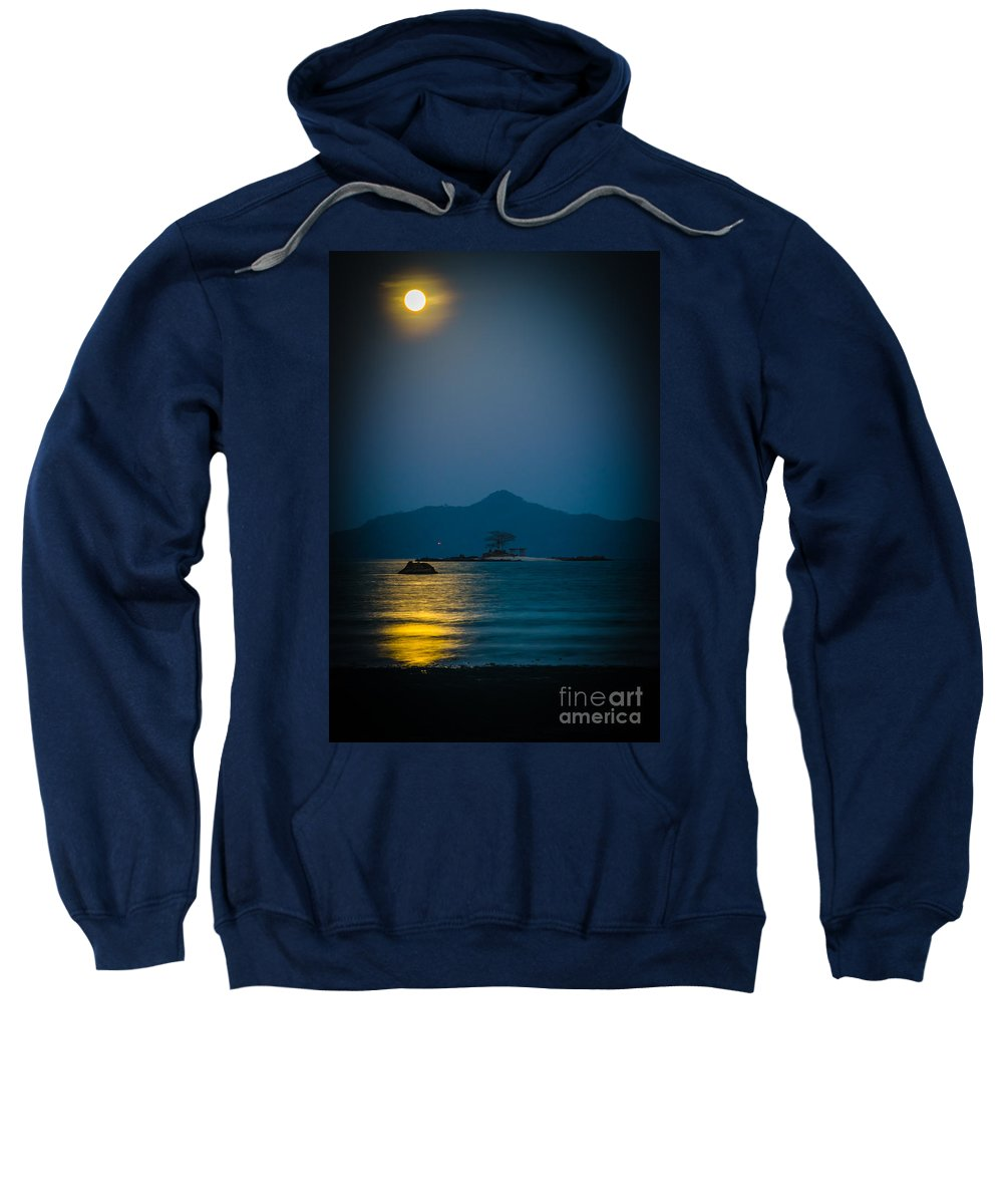 Full Moon Sweatshirt featuring the photograph Golden Moon by Adam Isfendiyar