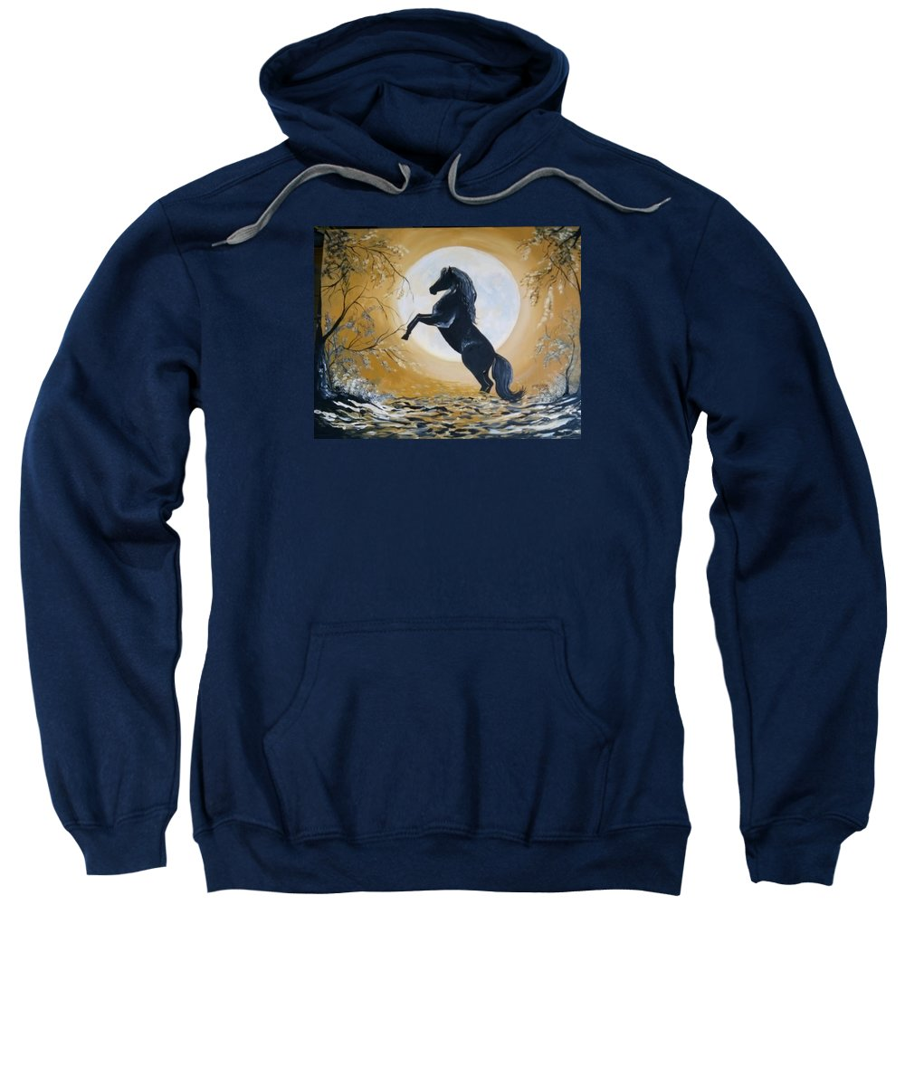 Black Horse In Golden Moon. Sweatshirt featuring the painting Golden Moon by Melissa Young