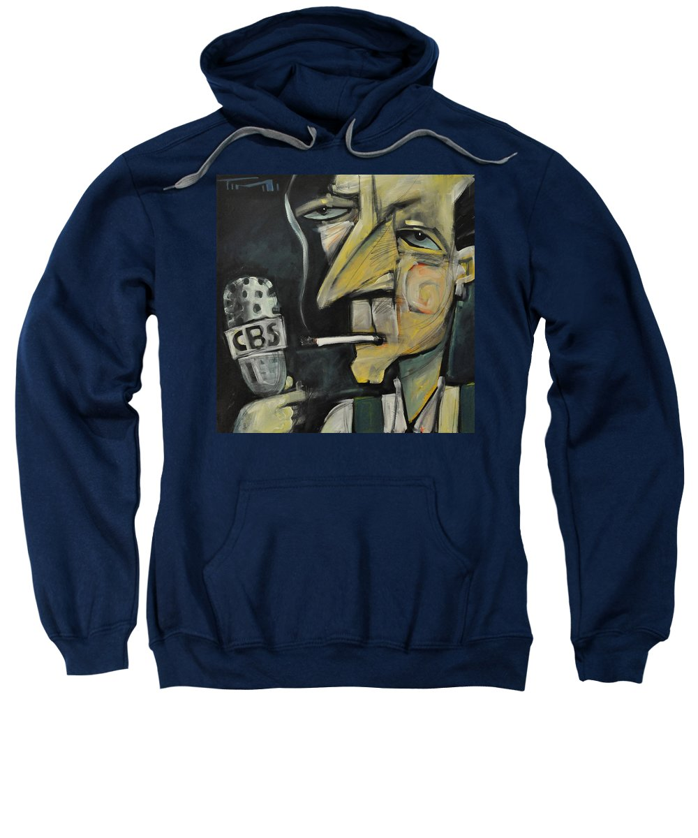 Edward R. Murrow Sweatshirt featuring the painting Goodnight And Good Luck by Tim Nyberg