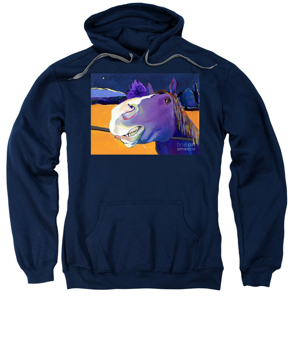 Barnyard Animal Sweatshirt featuring the painting Got Oats   by Pat Saunders-White
