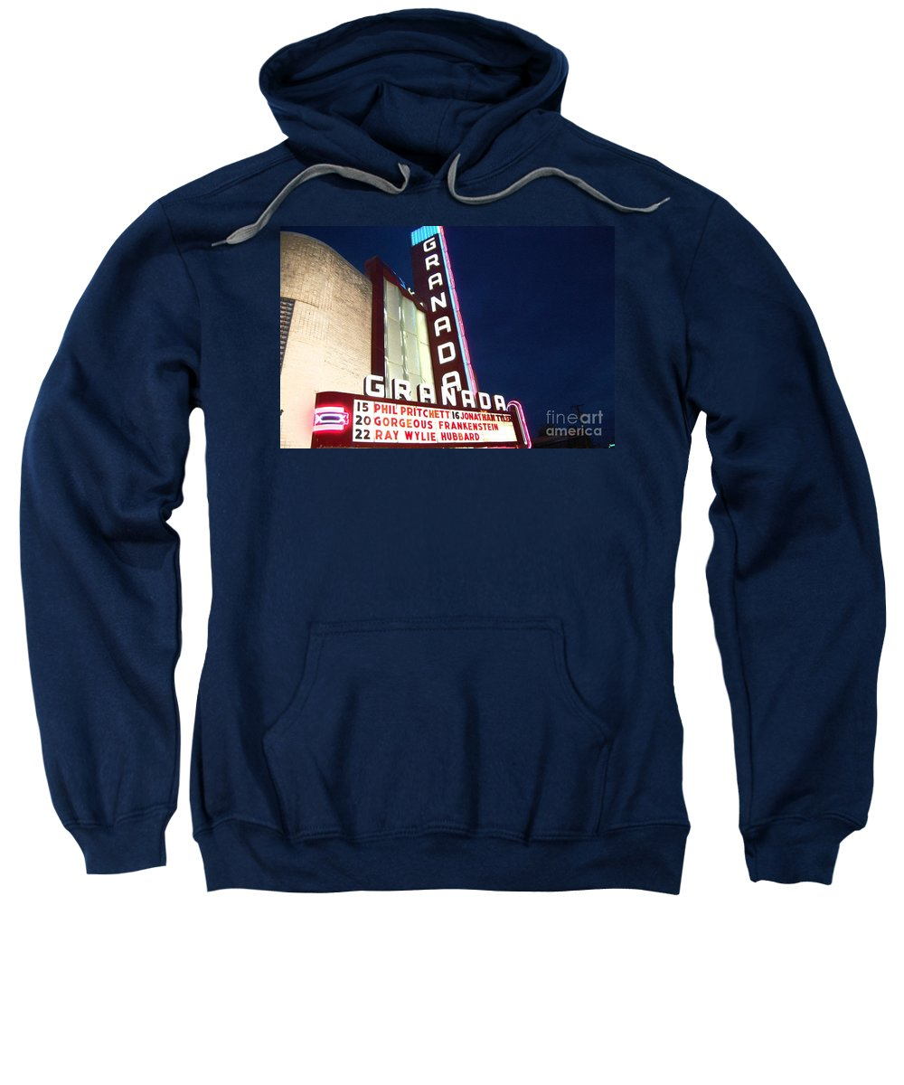 Music Sweatshirt featuring the photograph Granada Theater by Debbi Granruth