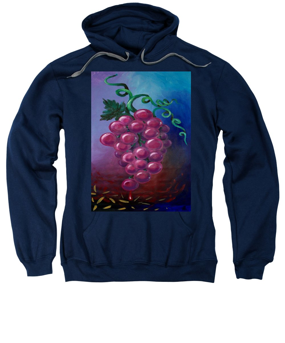 Grape Sweatshirt featuring the painting Grapes by Kevin Middleton