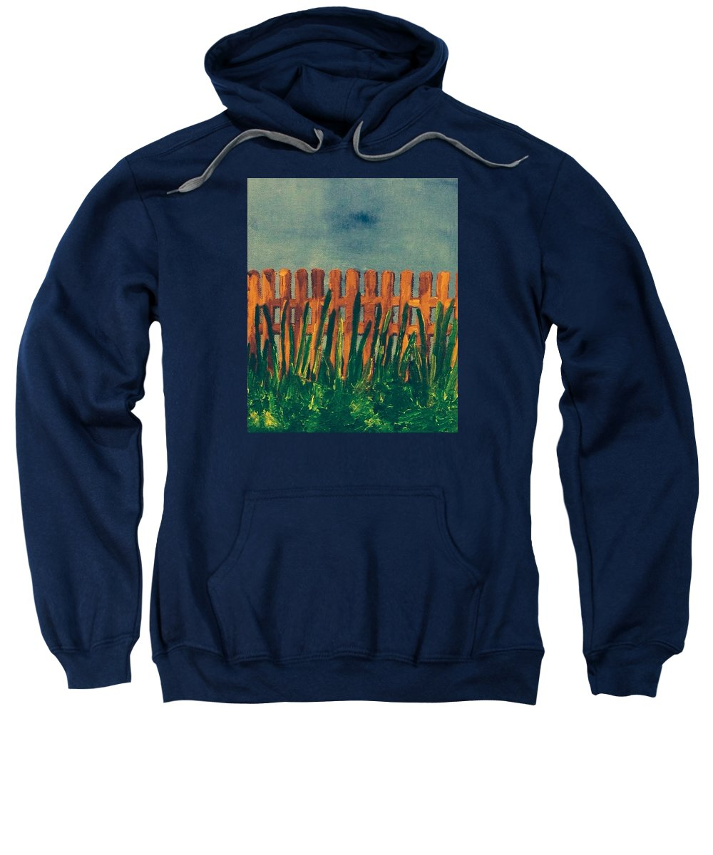 fence Sweatshirt featuring the painting Grass Is Greener On The Other Side by Jennifer L Johnson