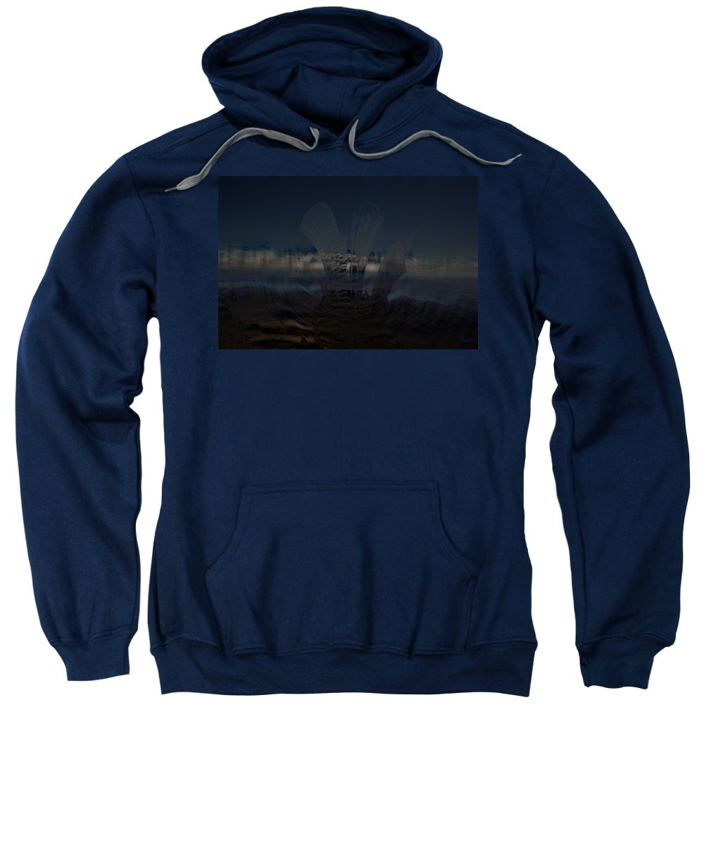 City Skyscape Land Scape Buildings Spinning Weird World Sky Mountains Sweatshirt featuring the photograph Gravitational Pull by Andrea Lawrence