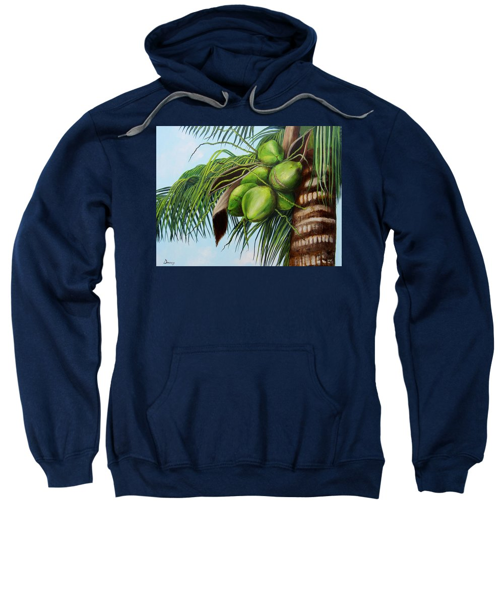 Coconuts Sweatshirt featuring the painting Green Coconuts- 01 by Dominica Alcantara