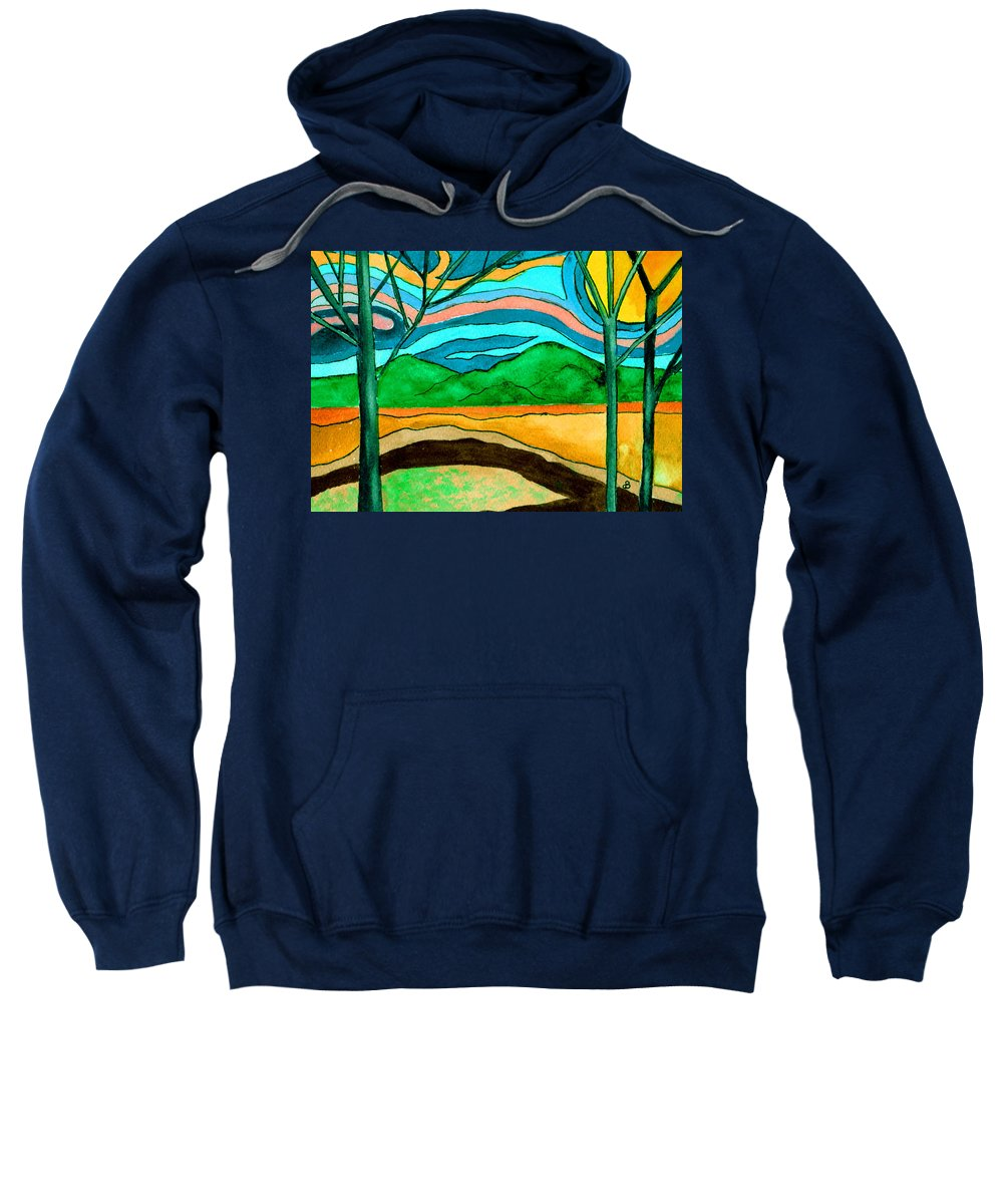 Watercolor Sweatshirt featuring the painting Green Hill Country by Brenda Owen