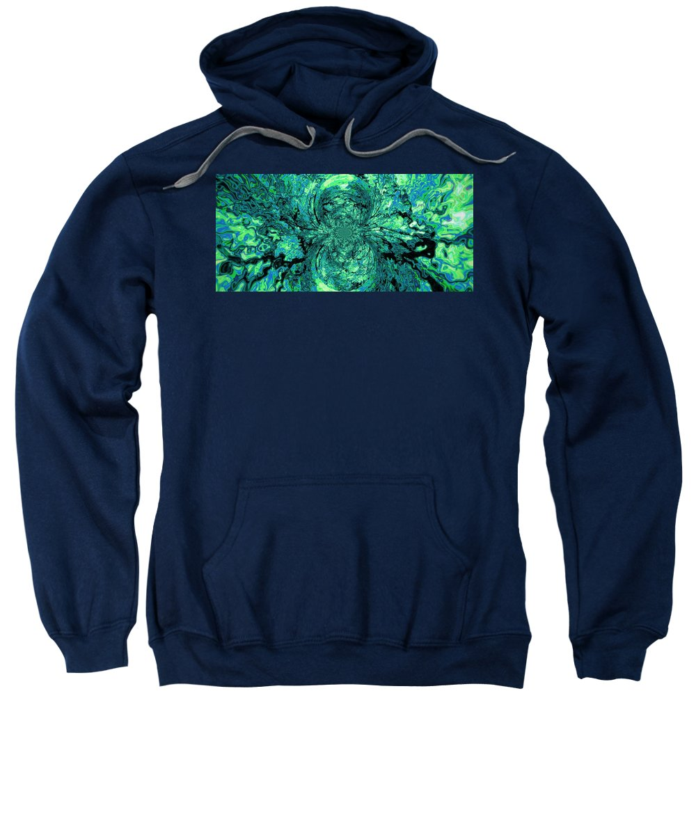 Green Sweatshirt featuring the digital art Green Irrevelance by Charleen Treasures