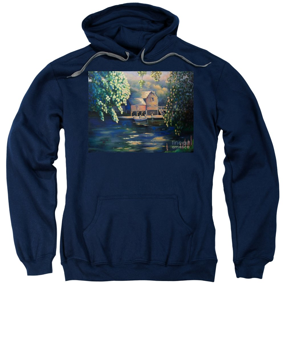 Landscape Sweatshirt featuring the painting Grist Mill 2 by Marlene Book