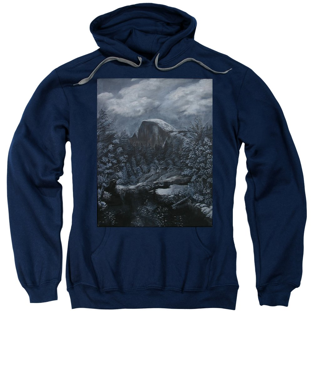 Yosemite Sweatshirt featuring the painting Half Dome Black and White by Travis Day