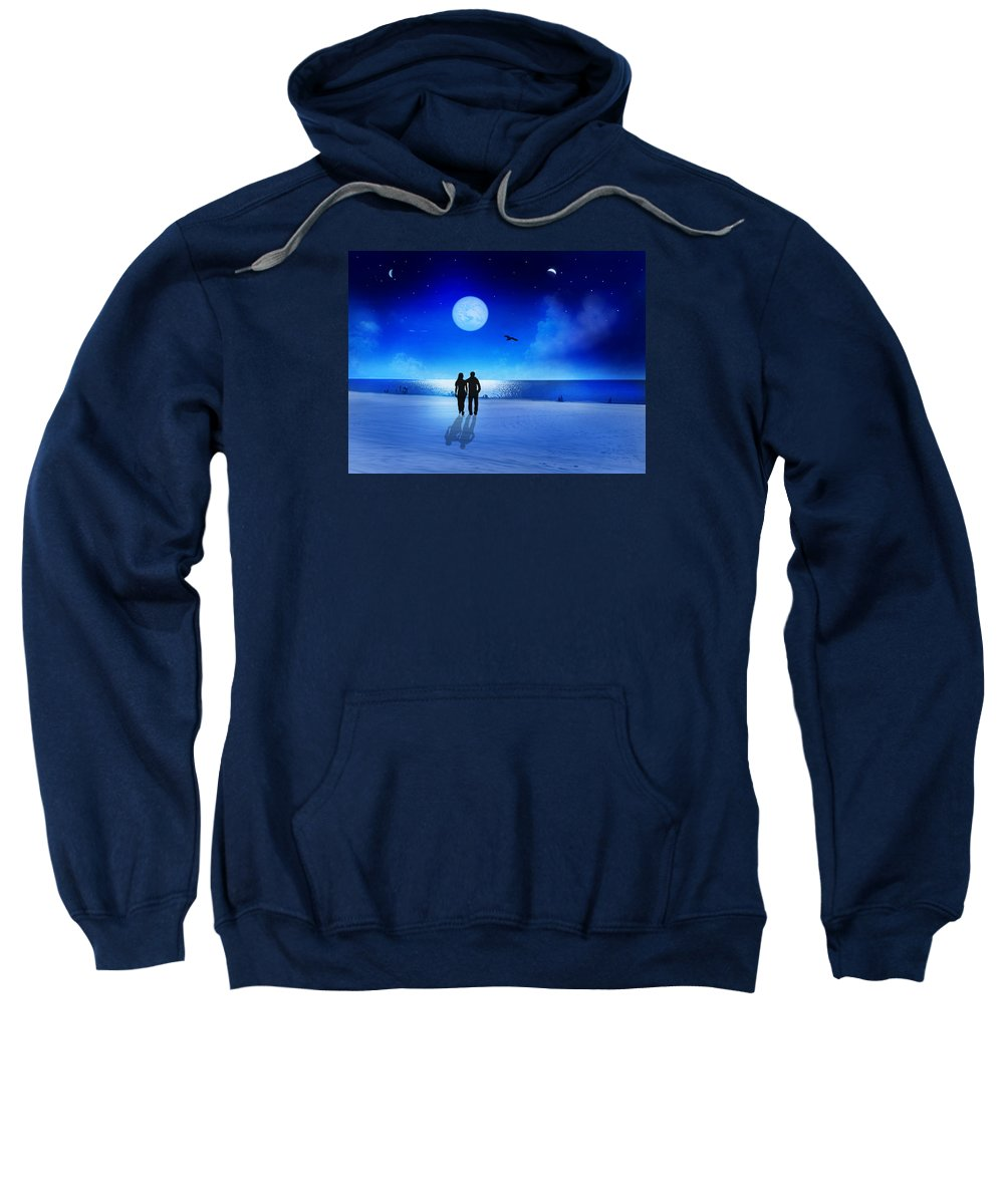#fineart #art #night #love #sky #stars #moon Sweatshirt featuring the digital art Night Blessings by Bernd Hau