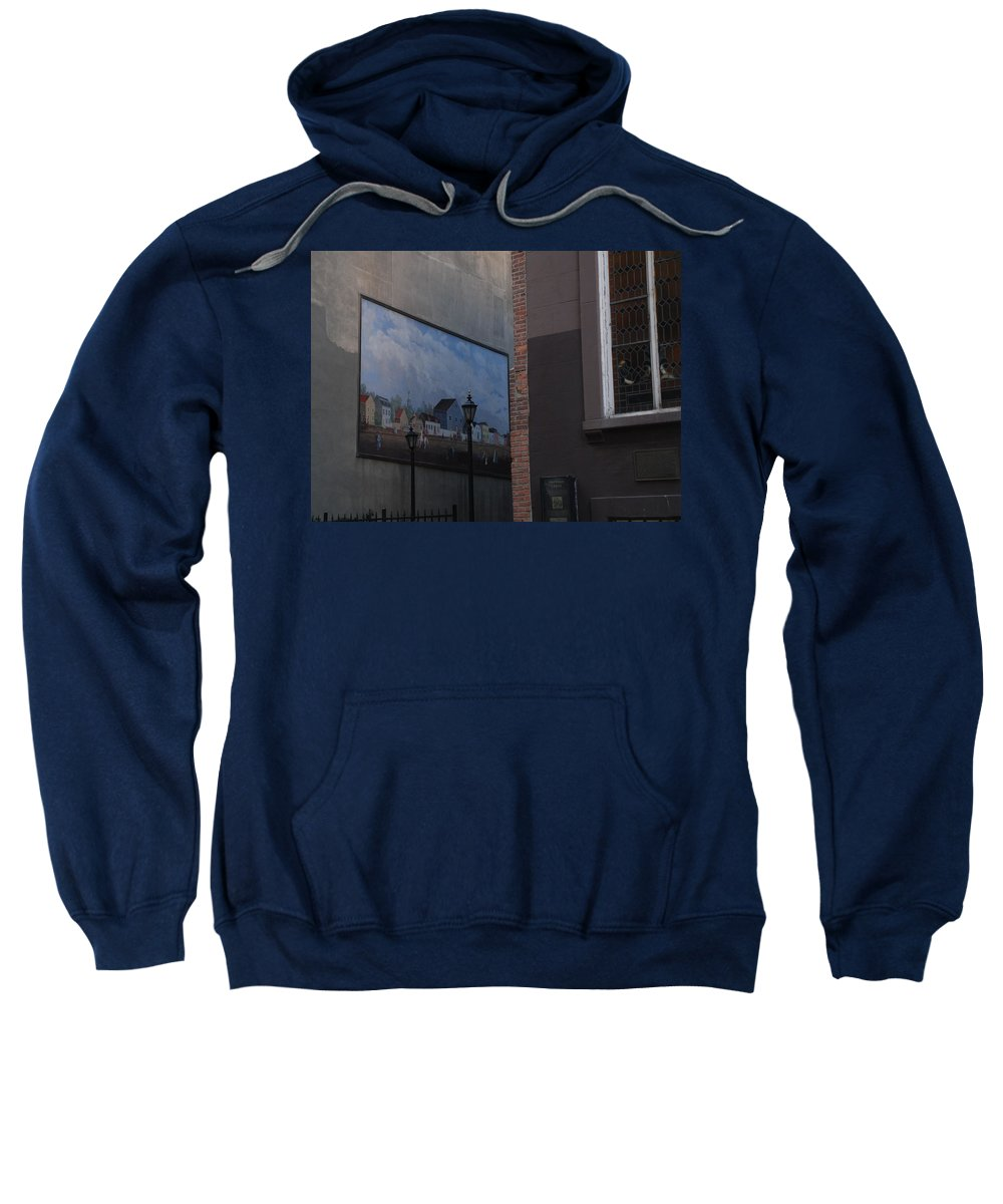 Street Scene Sweatshirt featuring the photograph Hanging Art In N Y C by Rob Hans