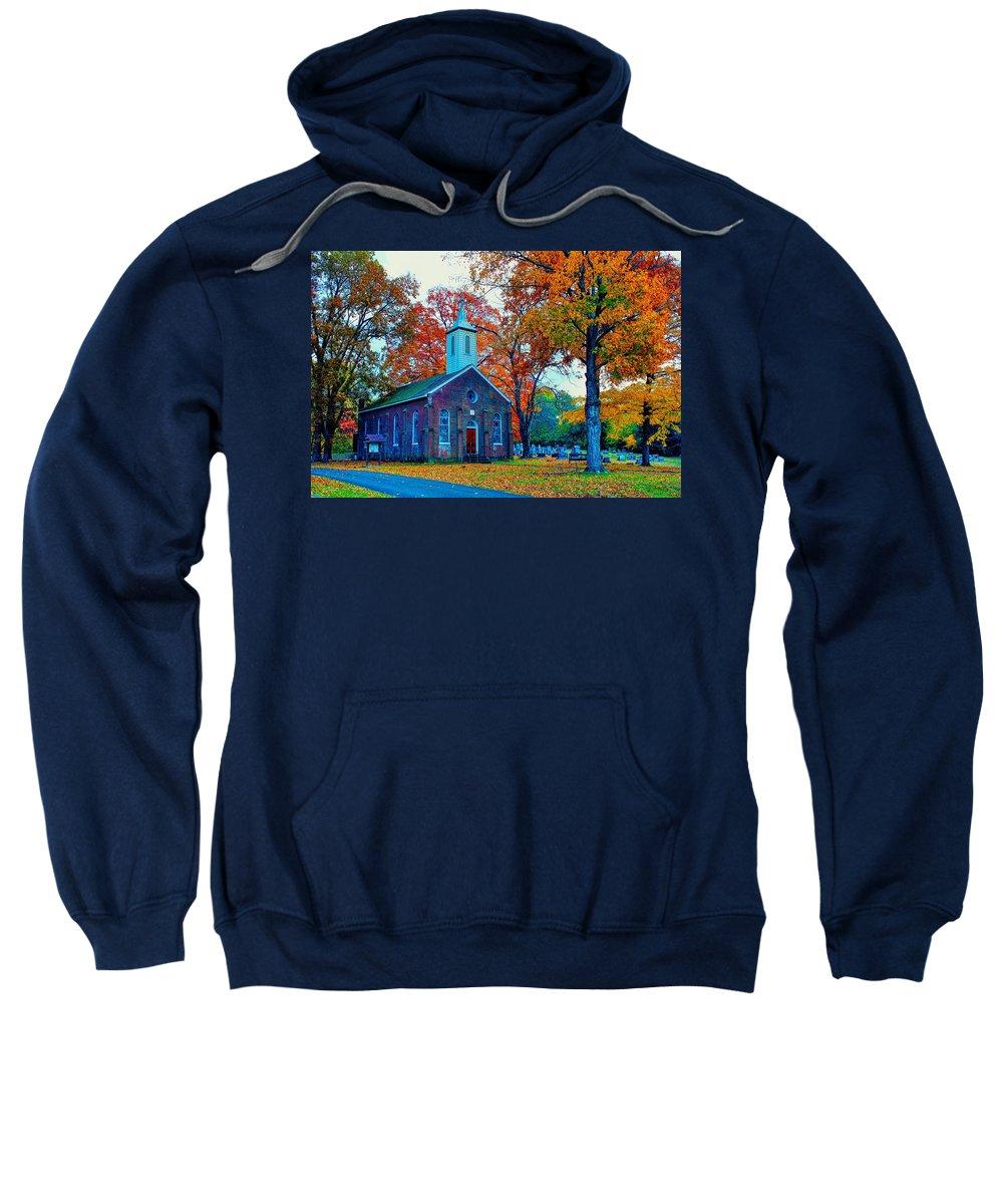 Hanover Sweatshirt featuring the photograph Hanover Church - Fall by Robert Cox