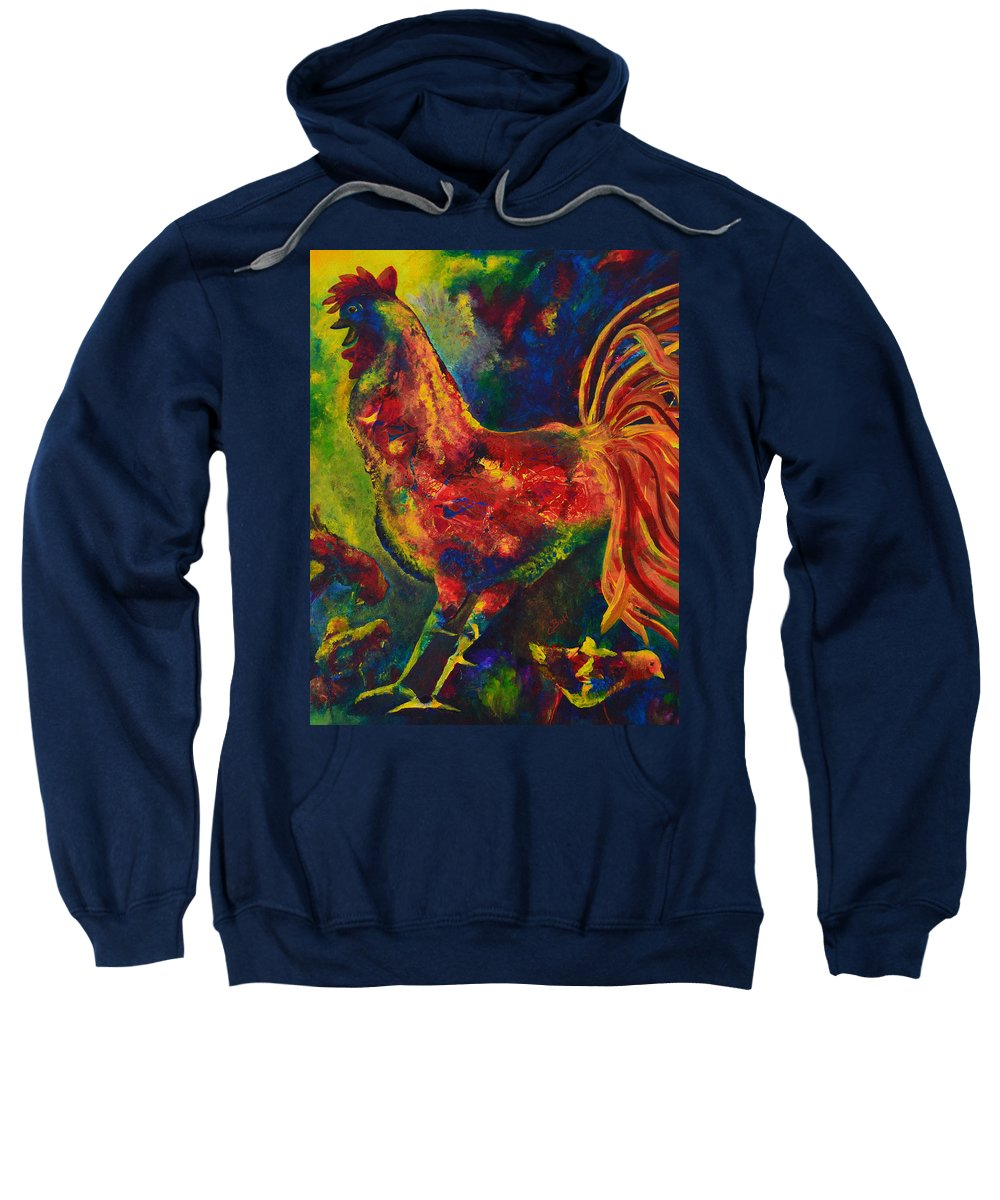 Rooster Sweatshirt featuring the painting Happy Rooster Family by Claire Bull