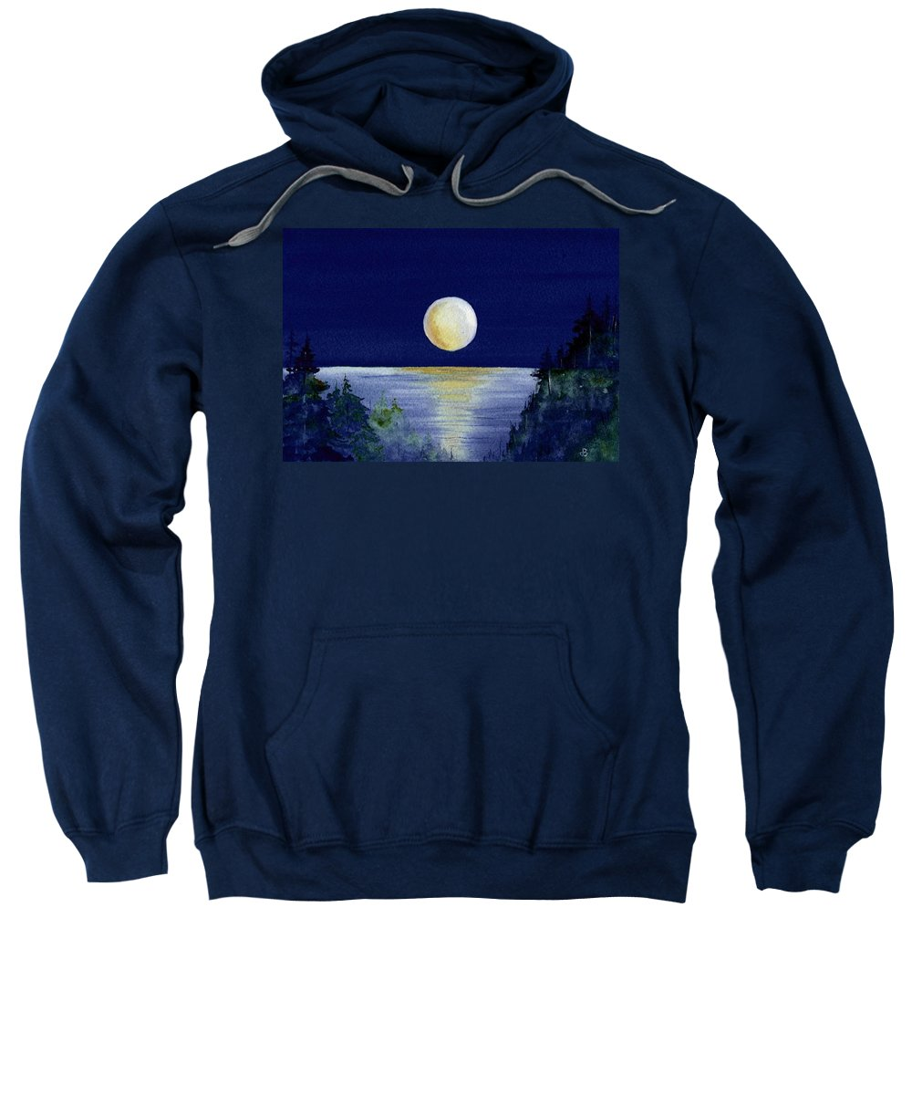 Watercolor Sweatshirt featuring the painting Harvest Moon by Brenda Owen