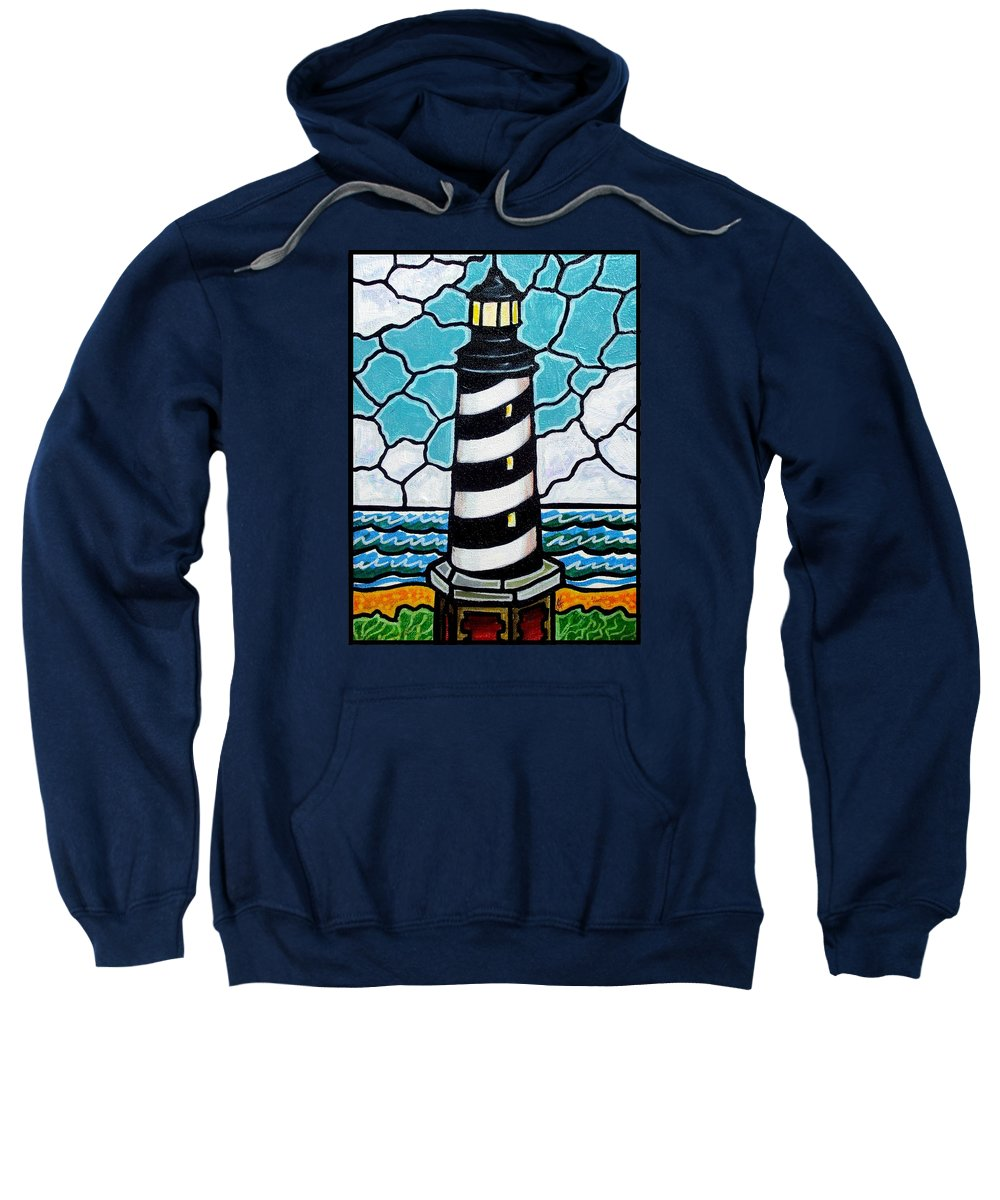 Lighthouse Sweatshirt featuring the painting Hatteras Island Lighthouse by Jim Harris