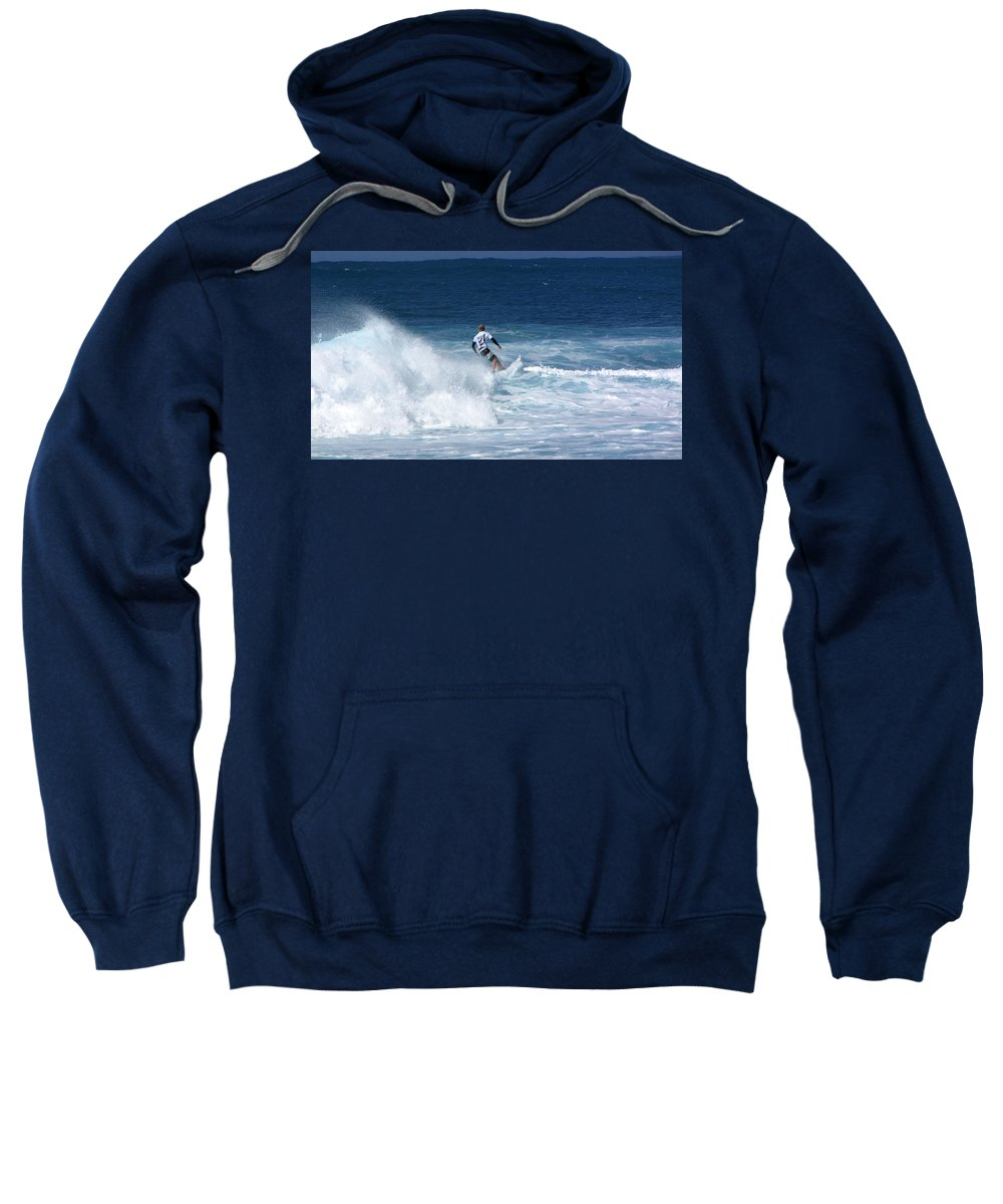 Surfer Sweatshirt featuring the photograph Hawaii Pipeline Surfer by Sarah Houser