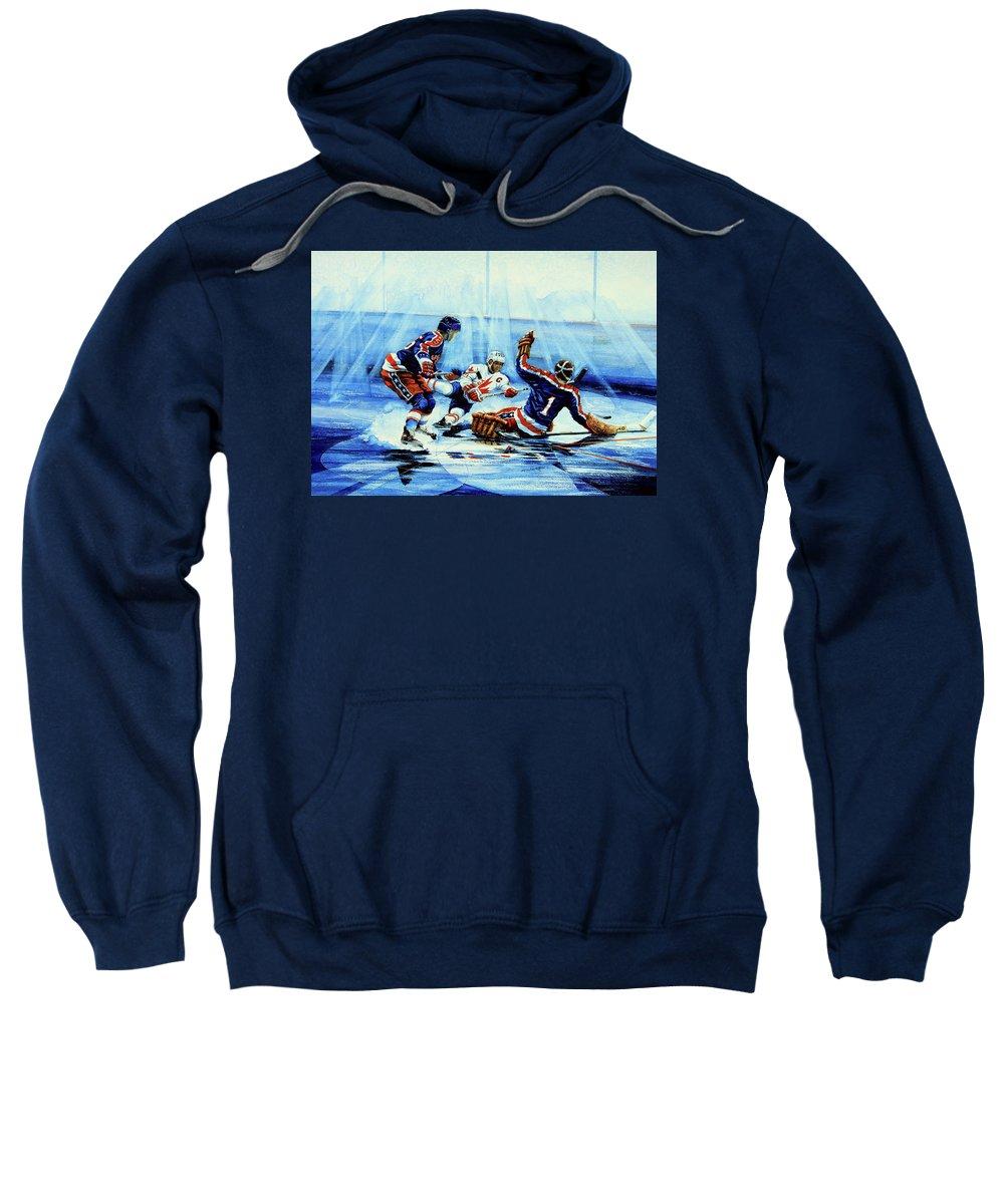 Hockey Sweatshirt featuring the painting He Shoots by Hanne Lore Koehler