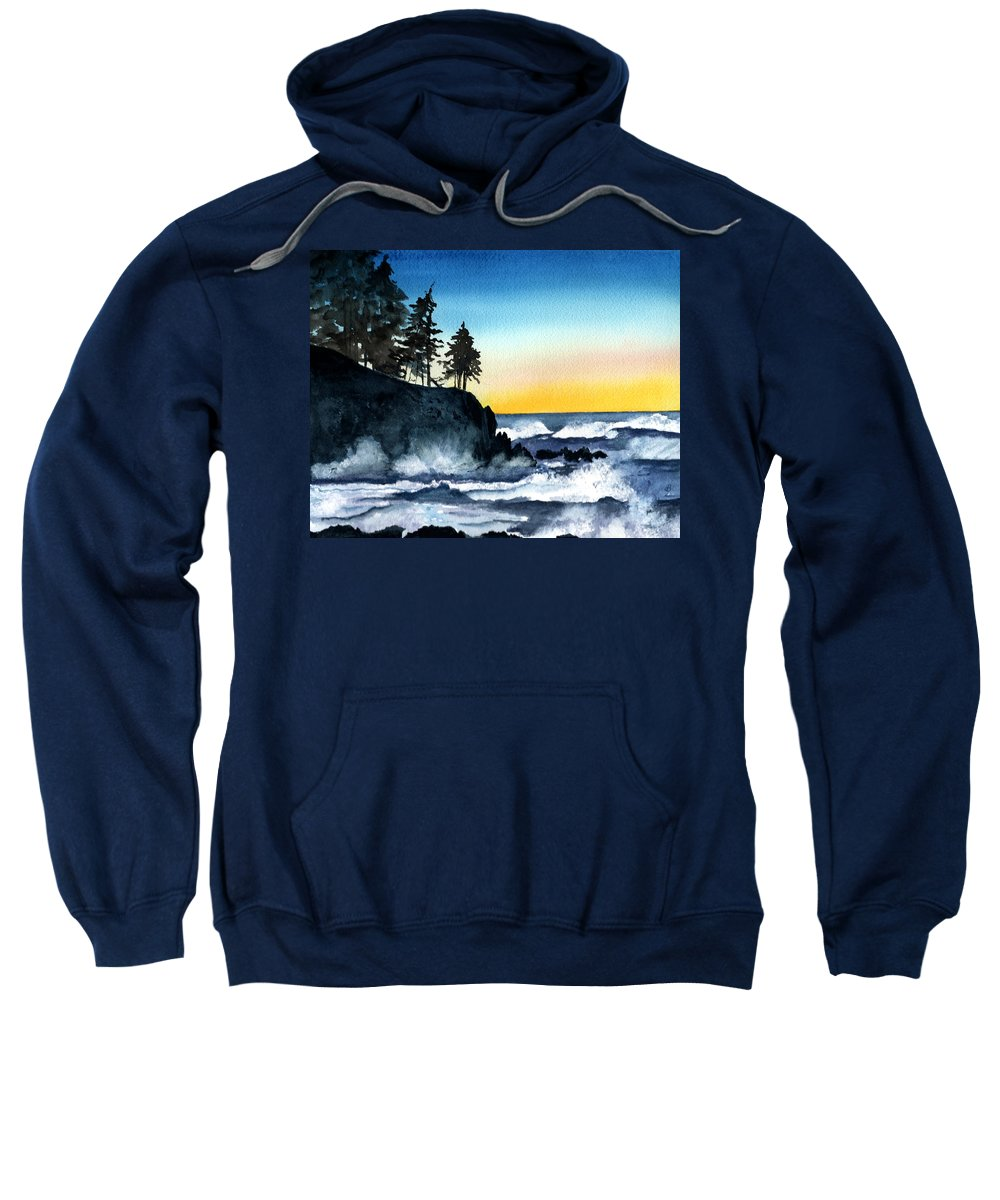 Alaska Sweatshirt featuring the painting Headland by Brenda Owen