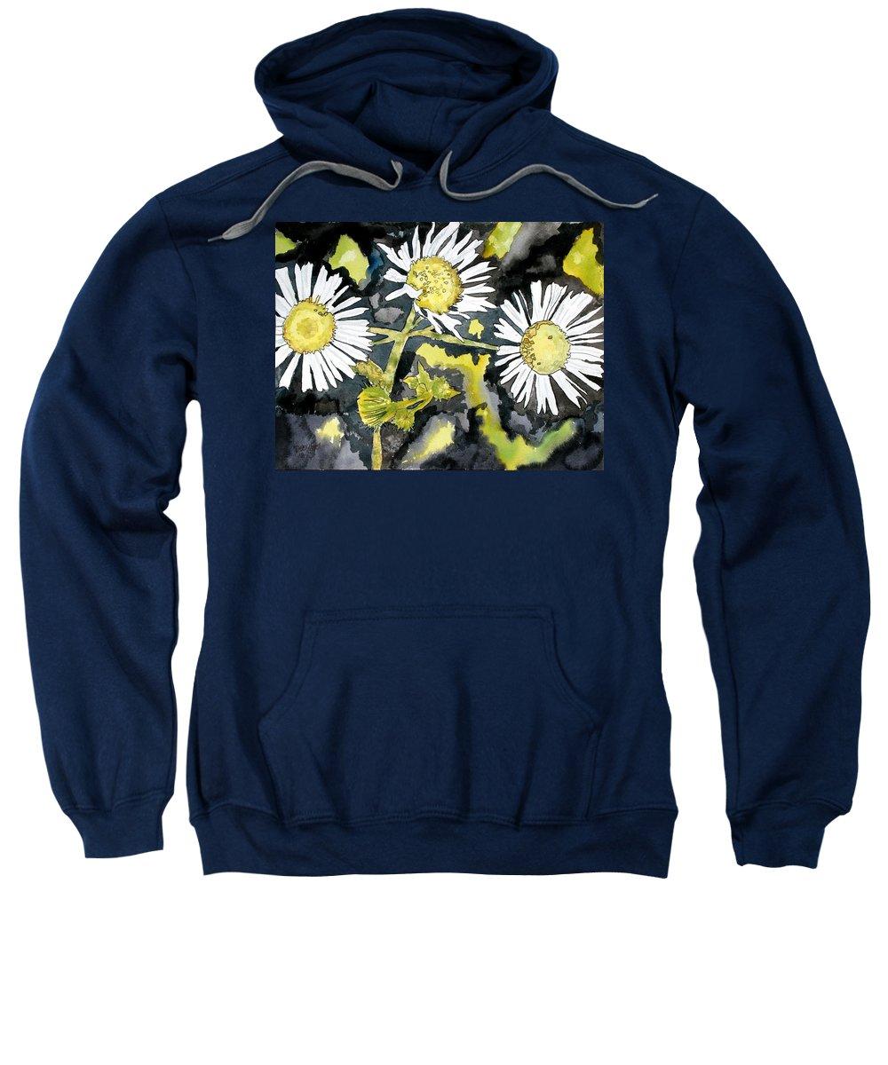 Wildflower Sweatshirt featuring the painting Heath Aster Flower Art Print by Derek Mccrea