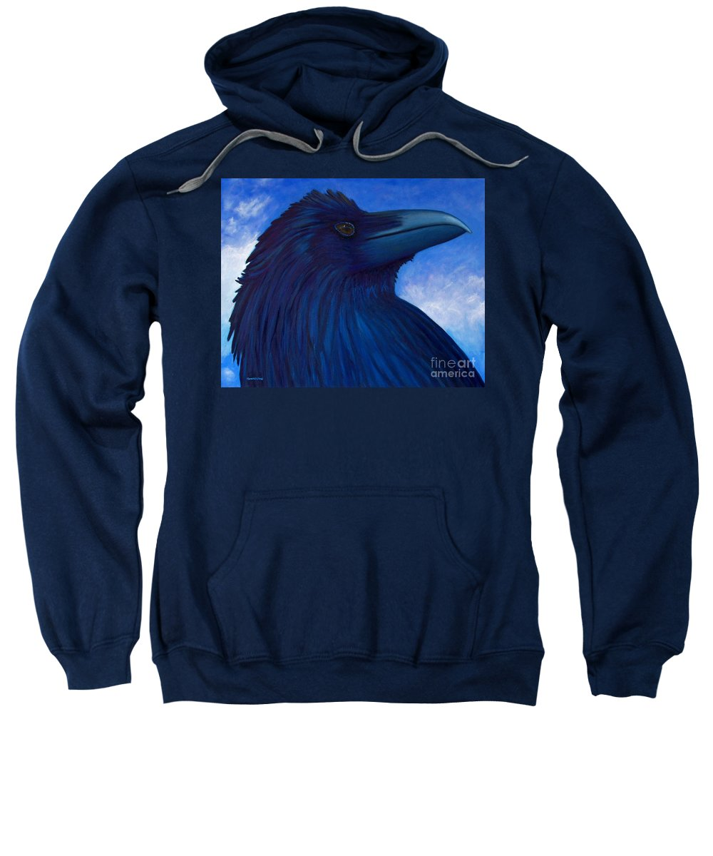 Raven Sweatshirt featuring the painting Heaven Bound by Brian Commerford