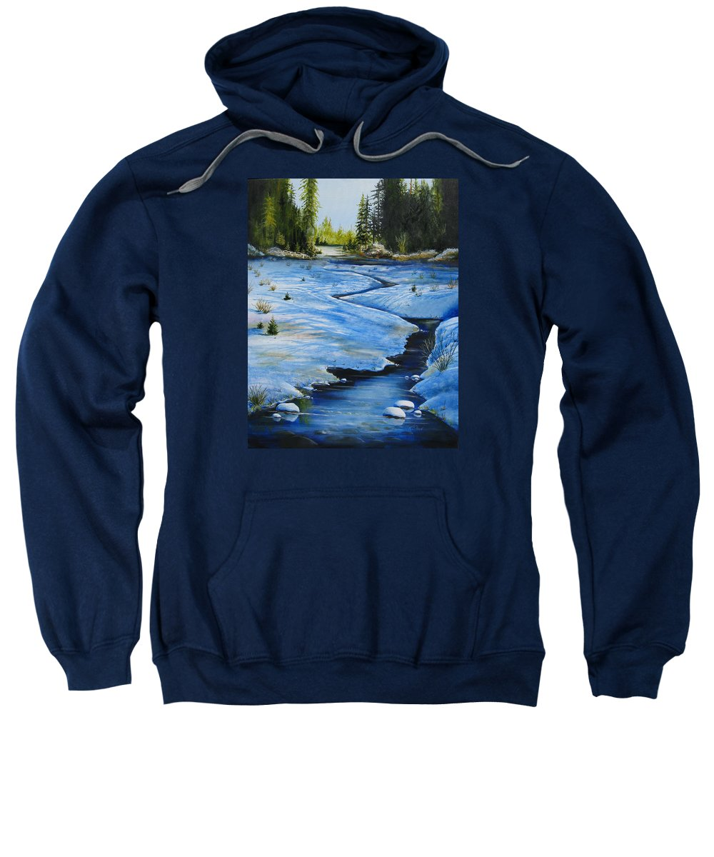 Landscape Sweatshirt featuring the painting High Country by Karen Stark