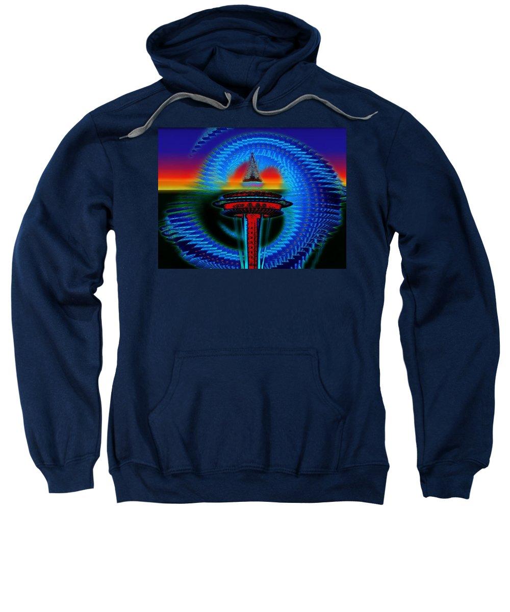 Seattle Sweatshirt featuring the digital art Holiday Needle Illusion by Tim Allen