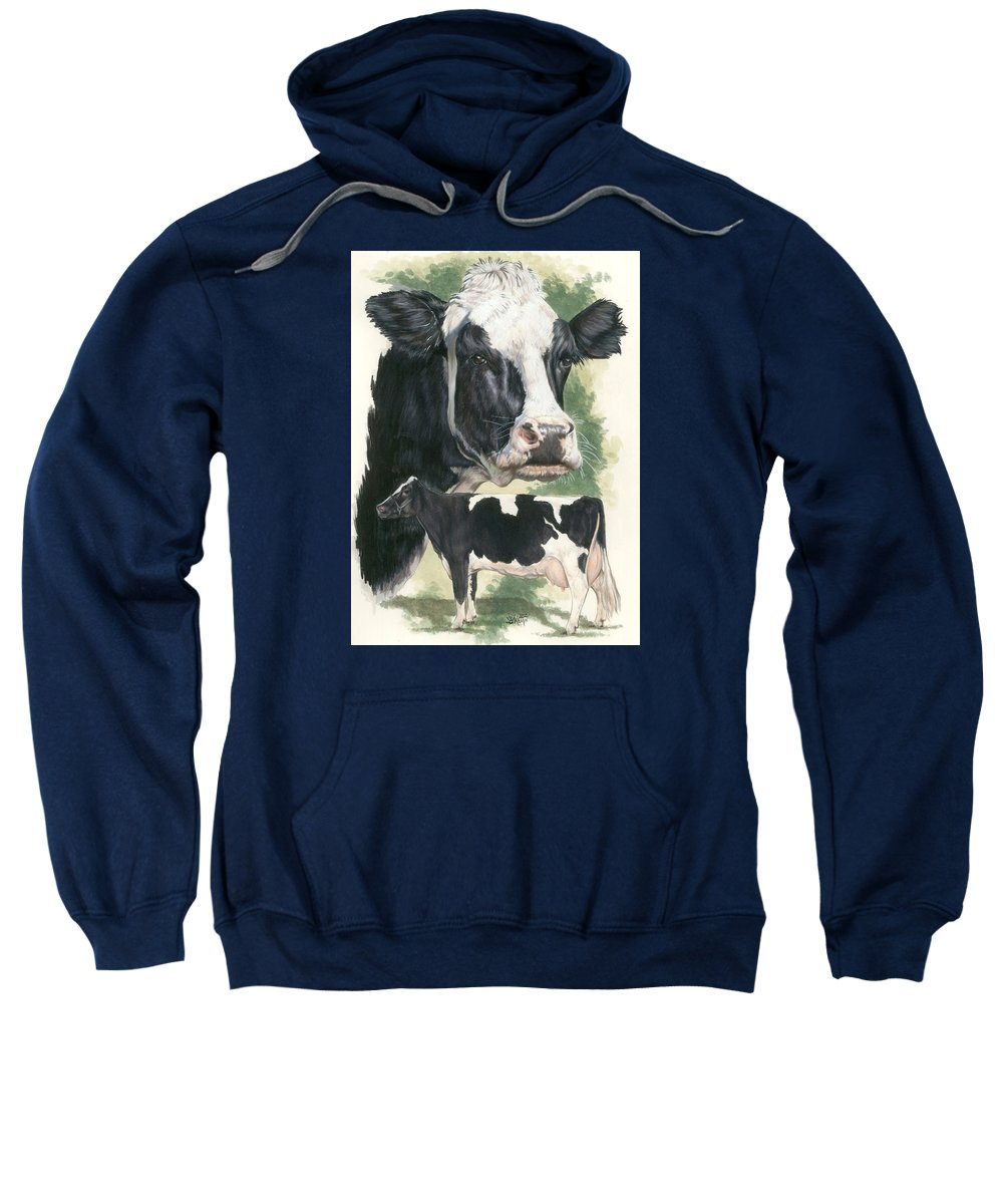 Cow Sweatshirt featuring the mixed media Holstein by Barbara Keith