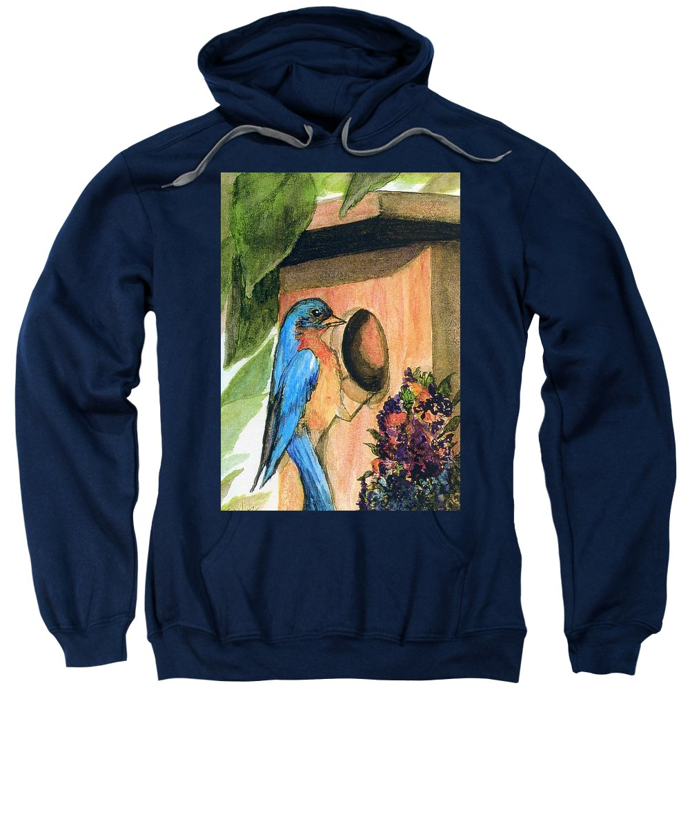 Bluebirds Sweatshirt featuring the painting Home Sweet Home by Gail Kirtz
