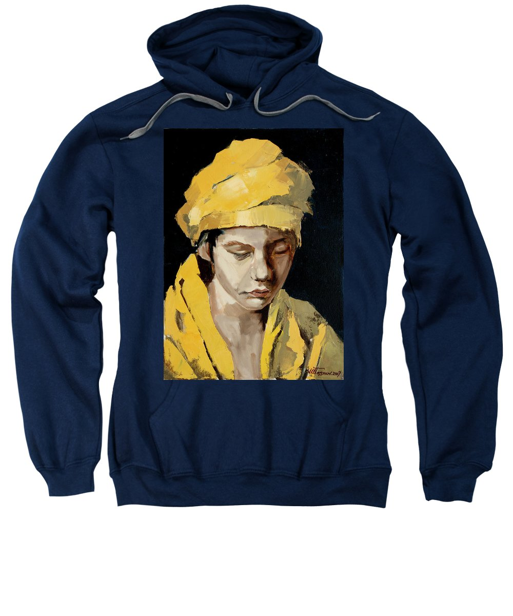 Painting Oil Painting Beautiful Best Legendary Realistic Art Peoples Woman Nude Animals Style Van Gogh Black Black And White On Black Background Sweatshirt featuring the painting Honesty by Vlad Atasyan