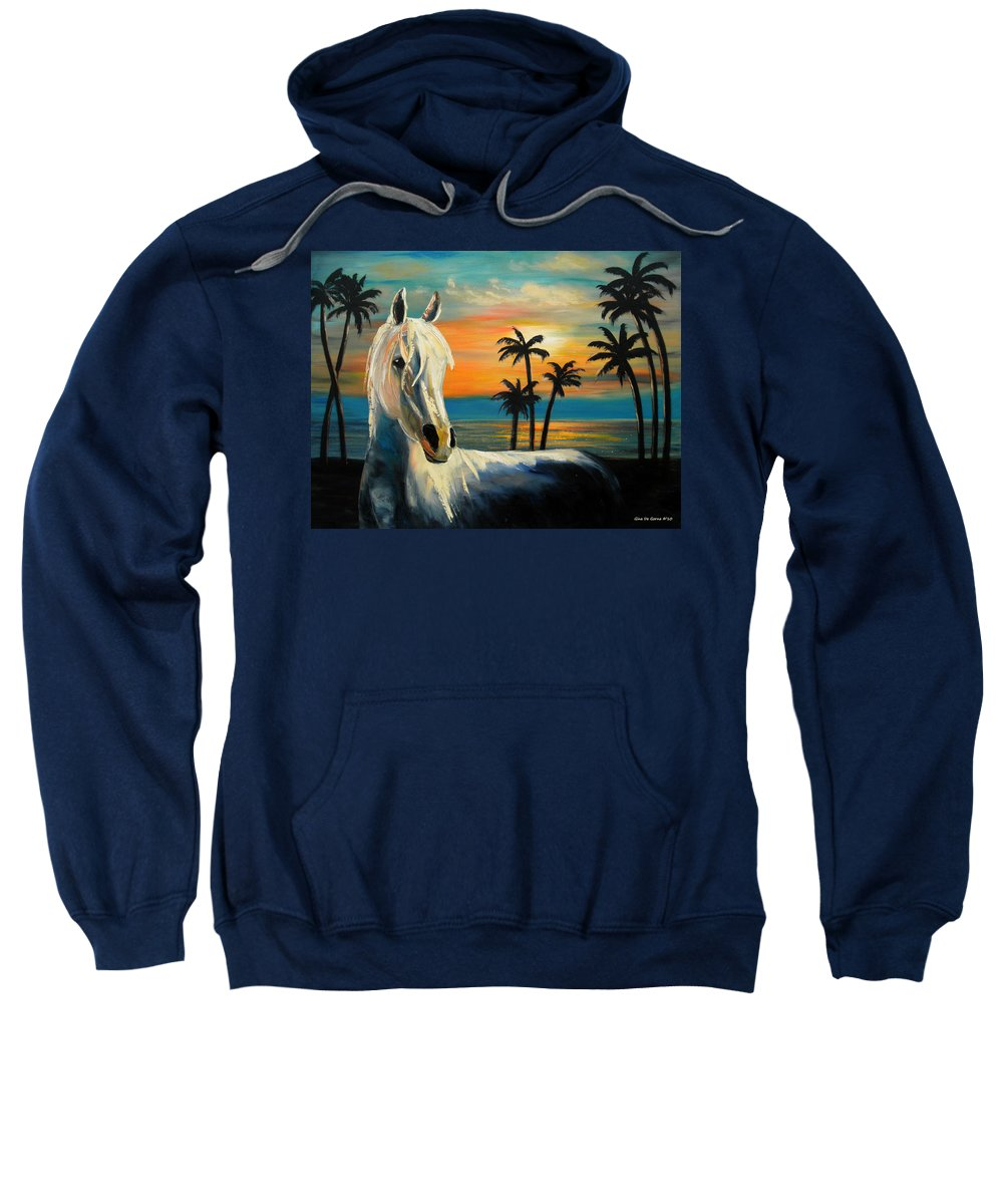Horse Sweatshirt featuring the painting Horses In Paradise Tell Me Your Dream by Gina De Gorna