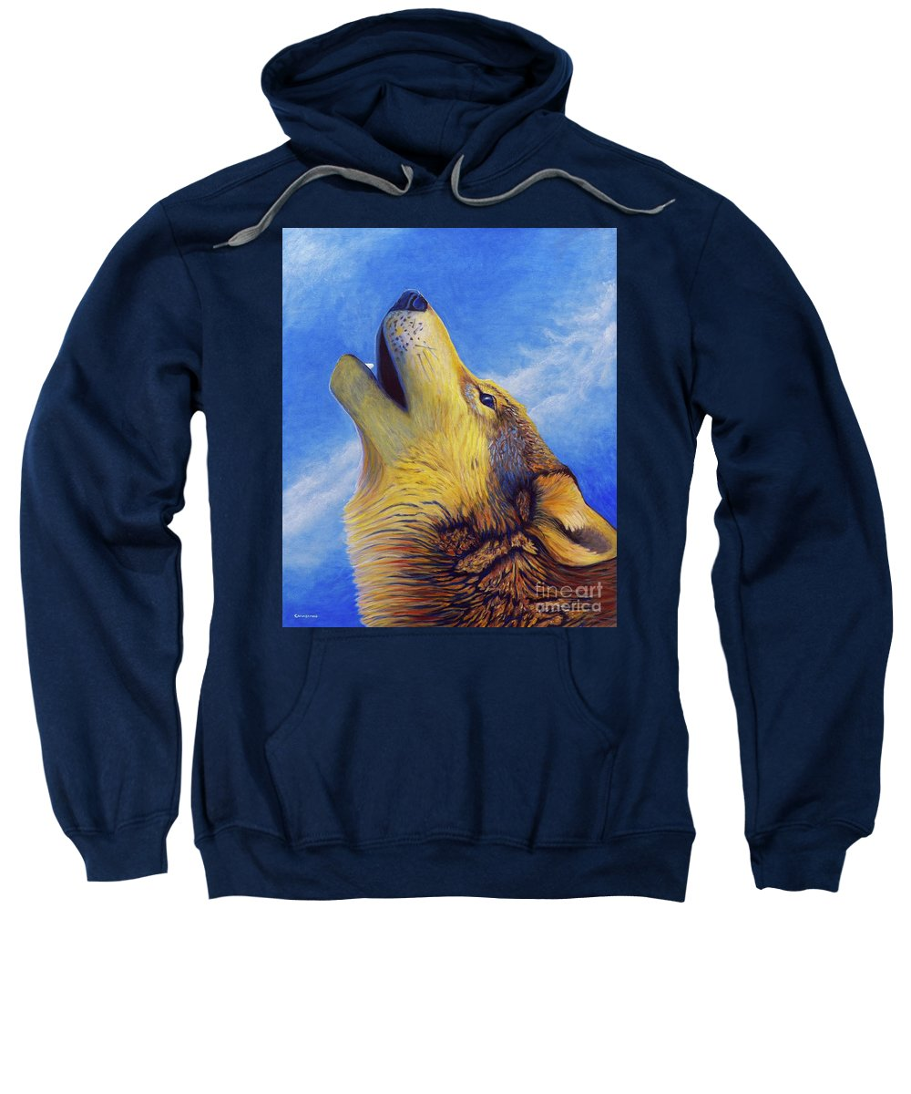 Wolf Sweatshirt featuring the painting Howl by Brian Commerford