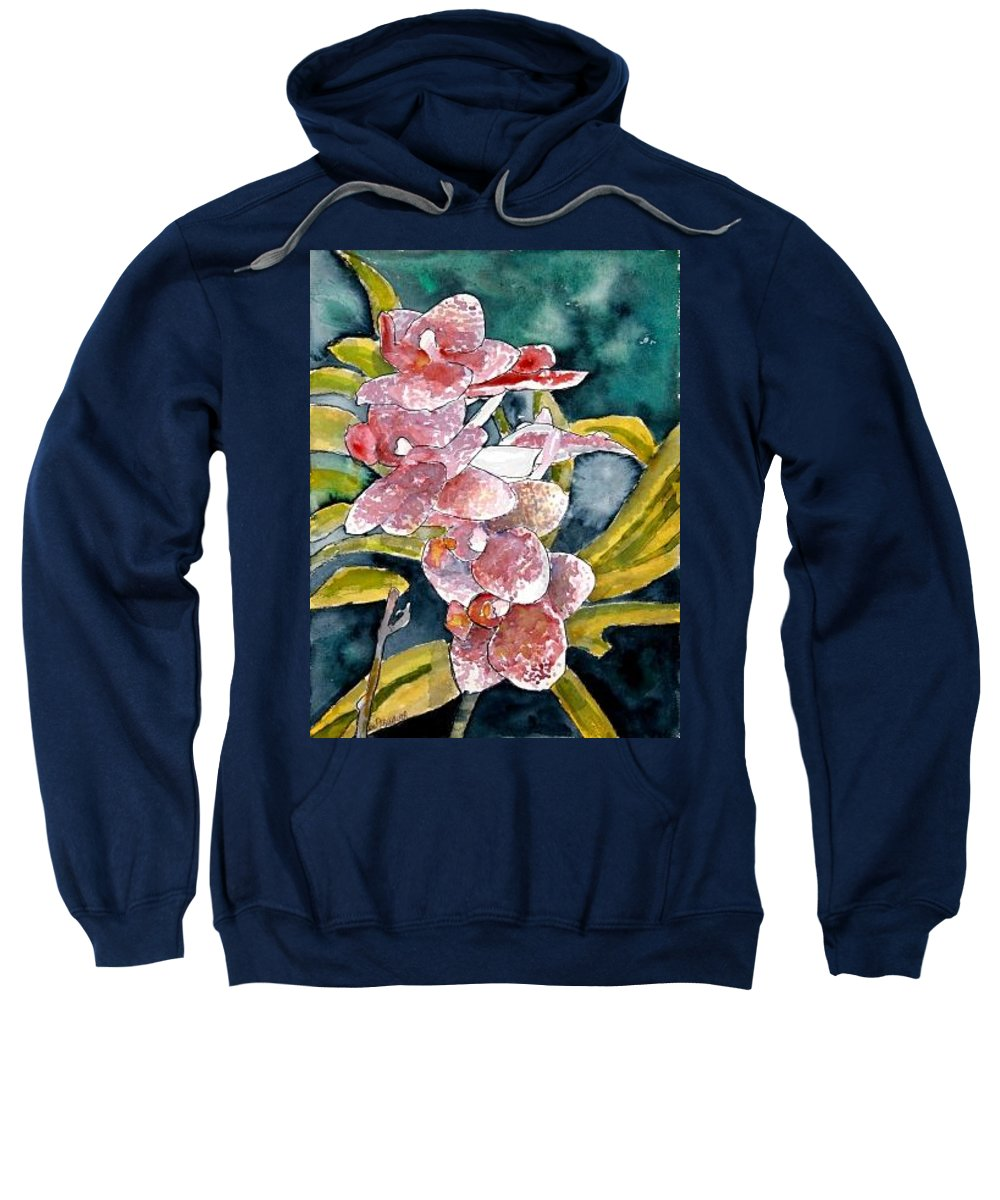 Orchid Sweatshirt featuring the painting Hybrid Orchids Orchid Flowers by Derek Mccrea