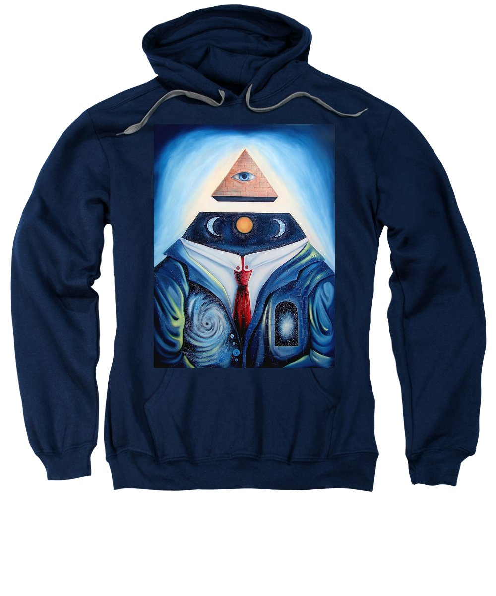 Surrealism Sweatshirt featuring the painting I Am by Darwin Leon