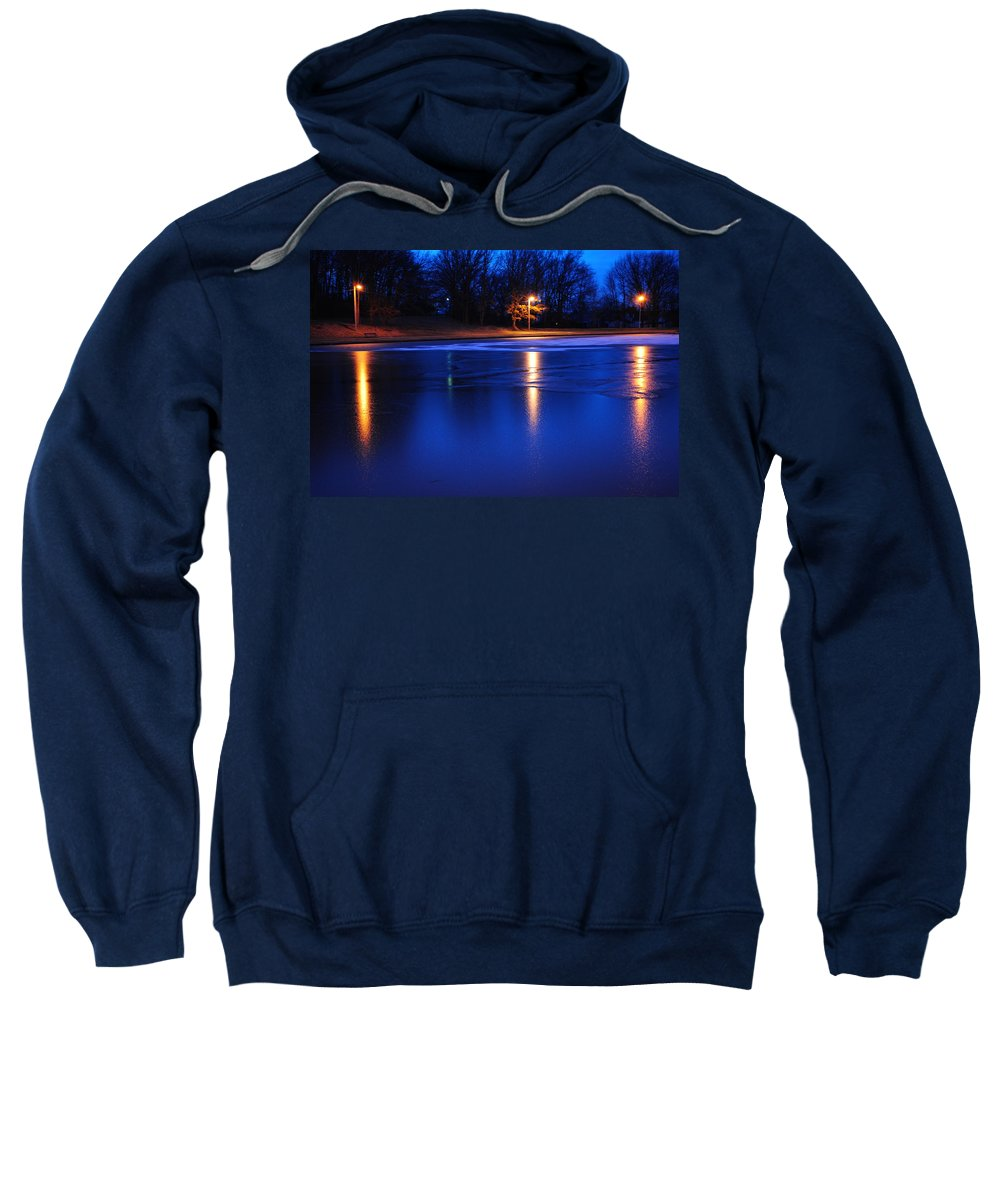 Glow Sweatshirt featuring the photograph Icy Glow by Frozen in Time Fine Art Photography