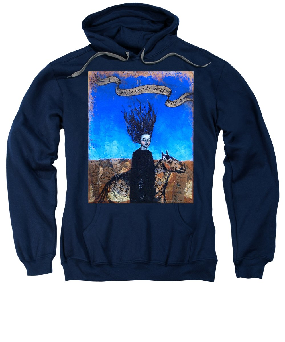 Sweatshirt featuring the painting Idontcareanymore by Pauline Lim