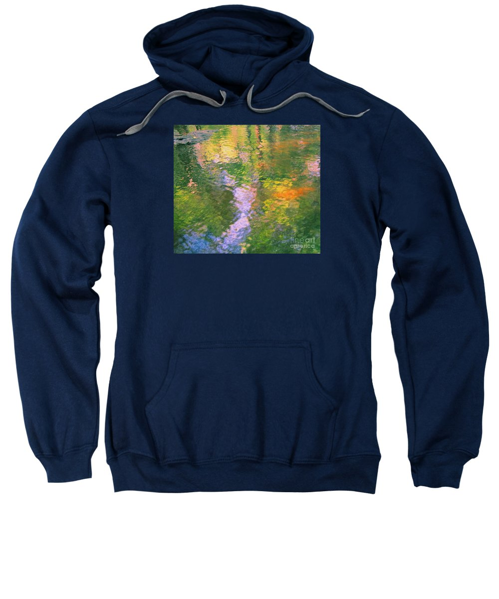 Abstract Sweatshirt featuring the photograph Impressionistic River Reflection by Sybil Staples