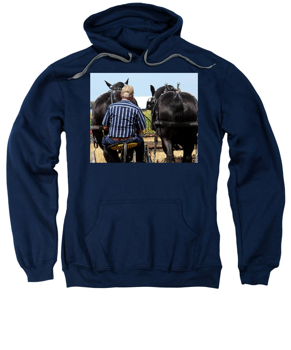 Plow Sweatshirt featuring the photograph In Sync by Ian MacDonald