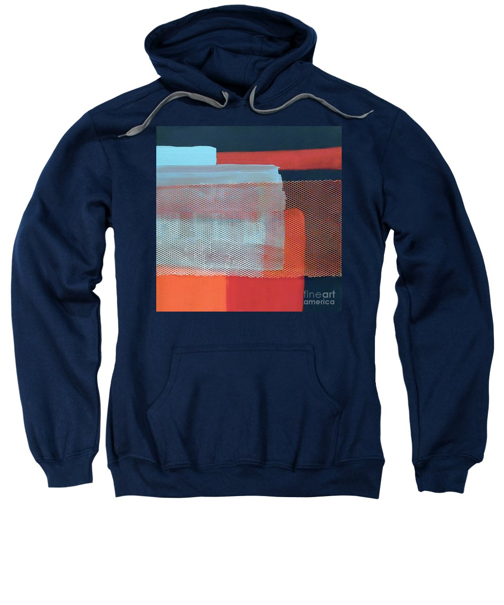 Navy Blue Industrial Abstract Sweatshirt featuring the painting In The Navy by Jilian Cramb - AMothersFineArt